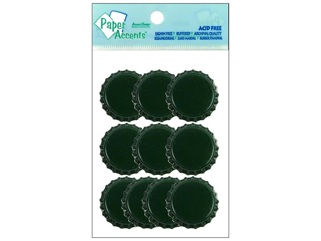 Paper Accents Bottle Caps 10 pc. Dark Green