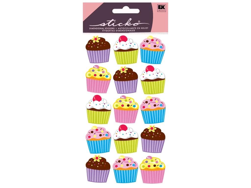 Sticko Vellum Stickers - Bright Cupcakes