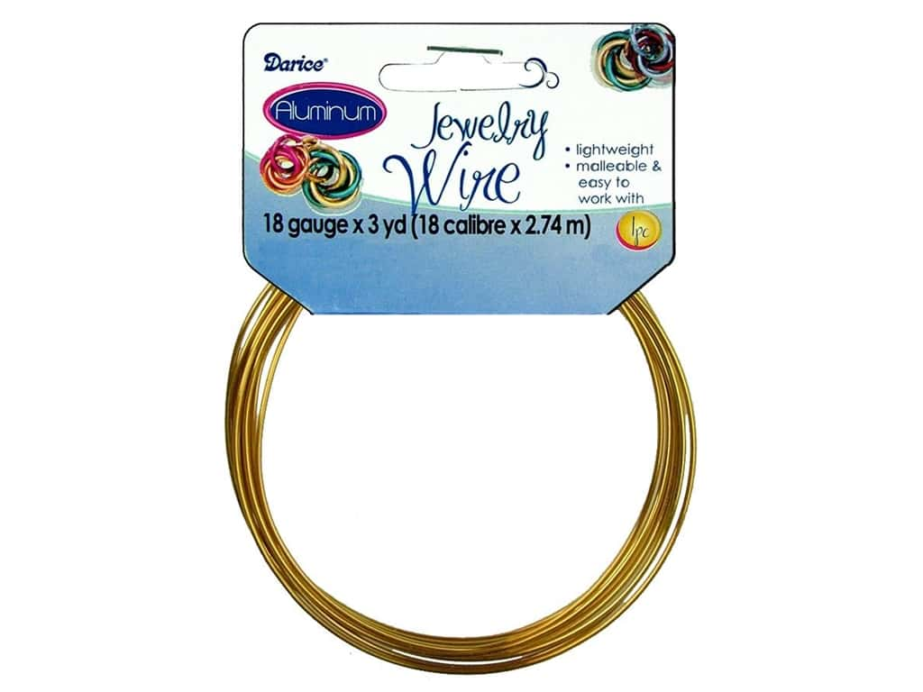 Darice Aluminum Jewelry Wire 18 Gauge Gold 3 yd.