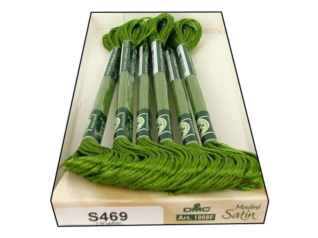 DMC Satin Embroidery Floss #S469 Olive Green (6 skeins)