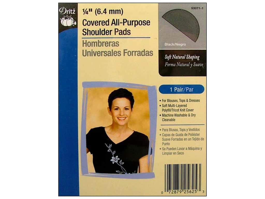 Covered All Purpose Shoulder Pads by Dritz 1/4 in. Black