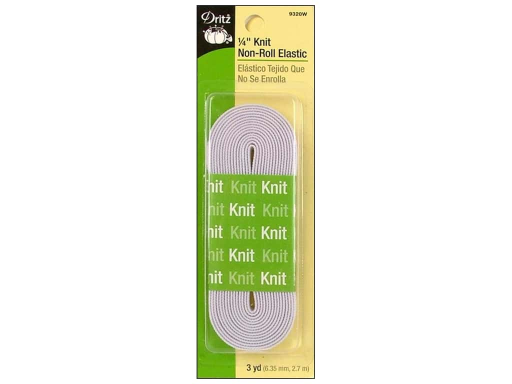 Dritz Knit Non-Roll Elastic 1/4 in. x 3 yd. White