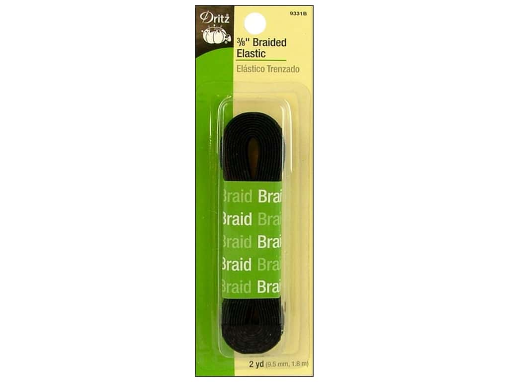 Dritz Braided Elastic 3/8 in. x 2 yd. Black