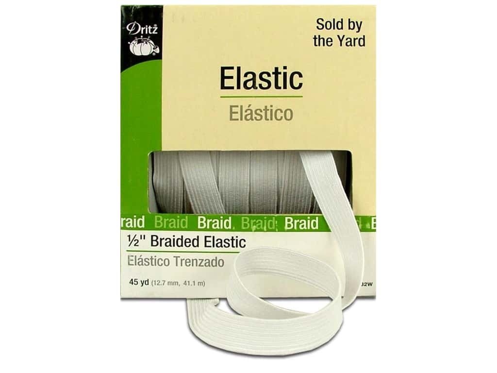 Dritz Braided Elastic 1/2 in. x 45 yd. White (45 yards)