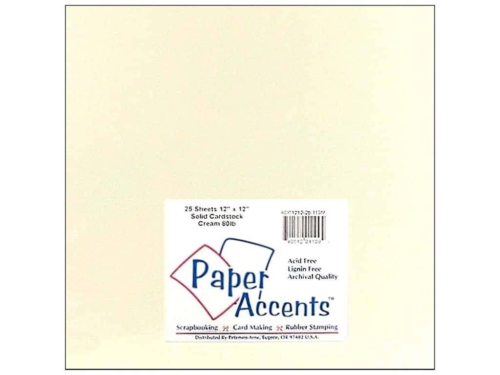 Paper Accents Cardstock 12 x 12 in. #119M Smooth Cream 25 pc.