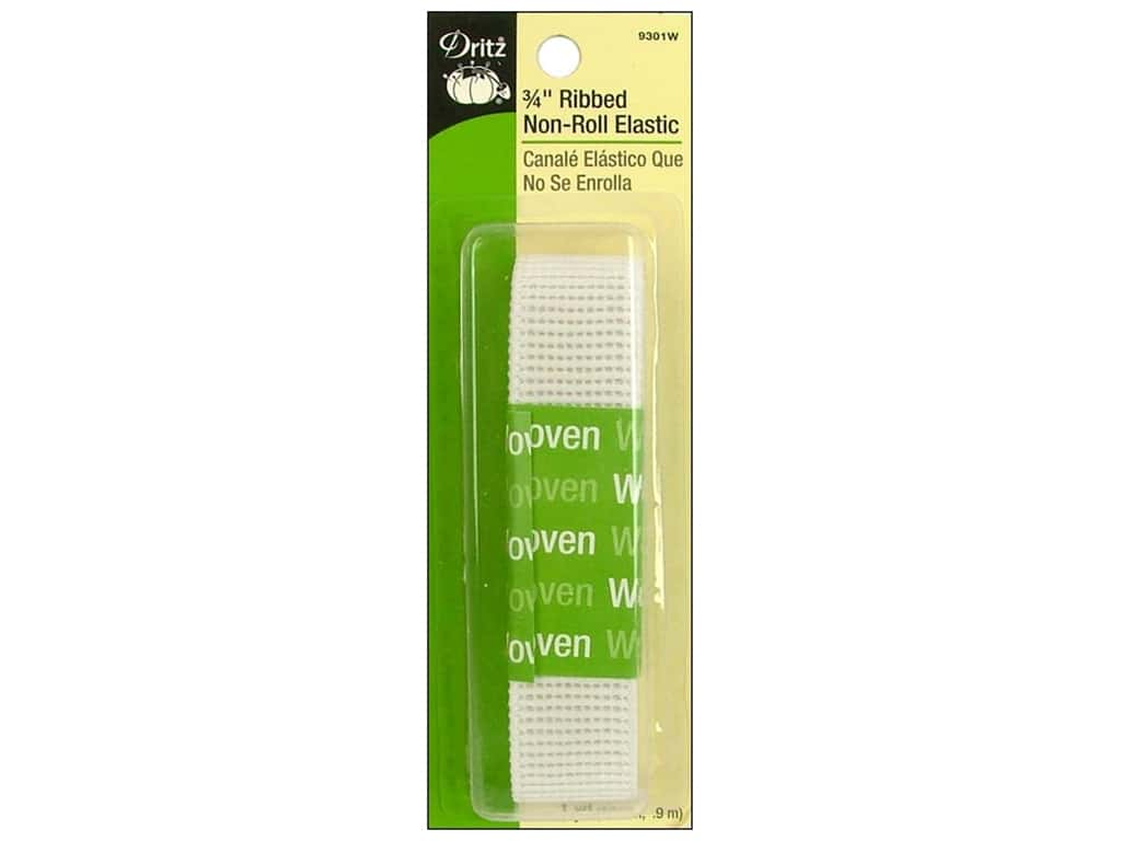 Dritz Ribbed Non-Roll Elastic 3/4 in. x 1 yd. White