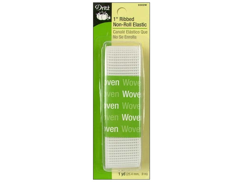 Dritz Ribbed Non-Roll Elastic 1 in. x 1 yd. White