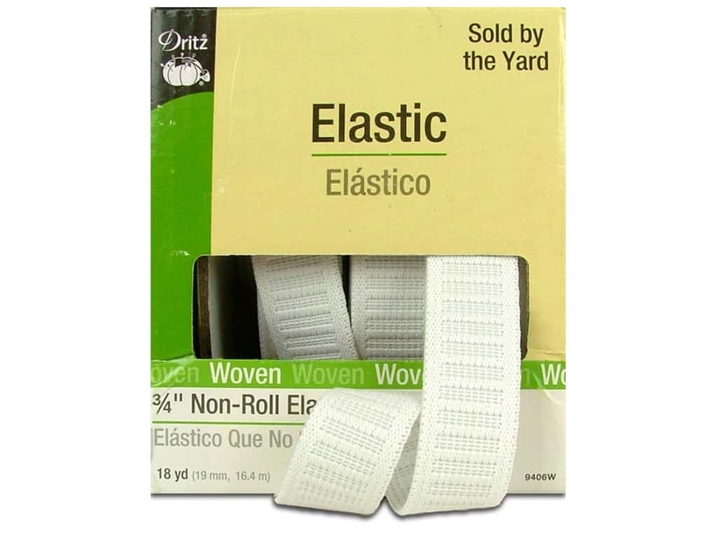 Dritz Non-Roll Elastic 3/4 in x 18 yd. White (18 yards)