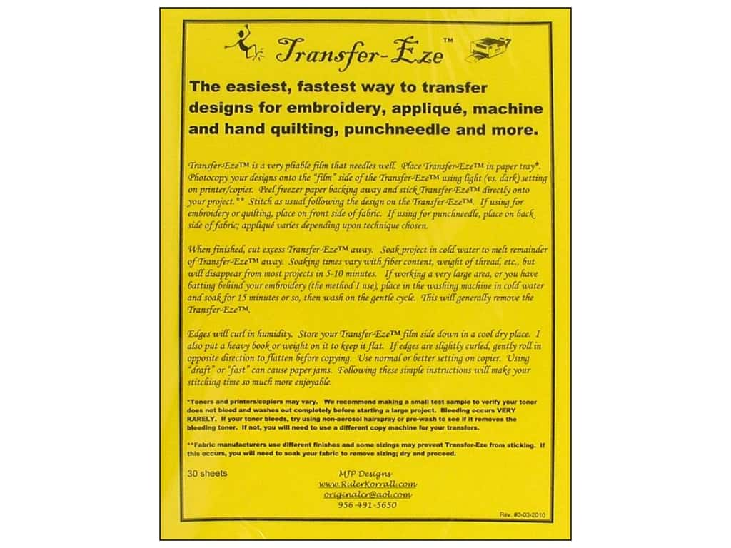 MJP Designs Transfer Eze Design Transfer Sheet 30 pc
