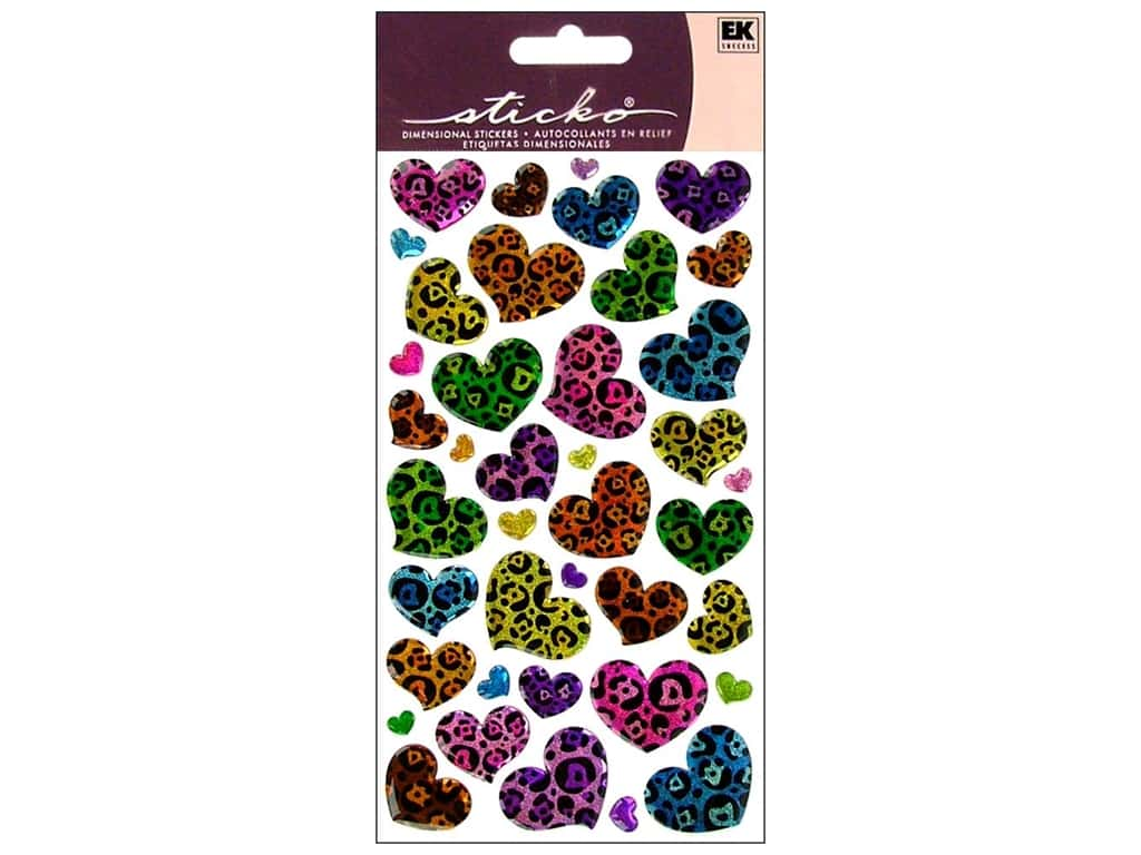 Sticko Sparkler Stickers - Animal Print Hearts