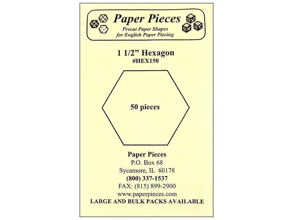 Paper Pieces Precut Paper Shapes Hexagon 1 1/2 in. 50 pc.