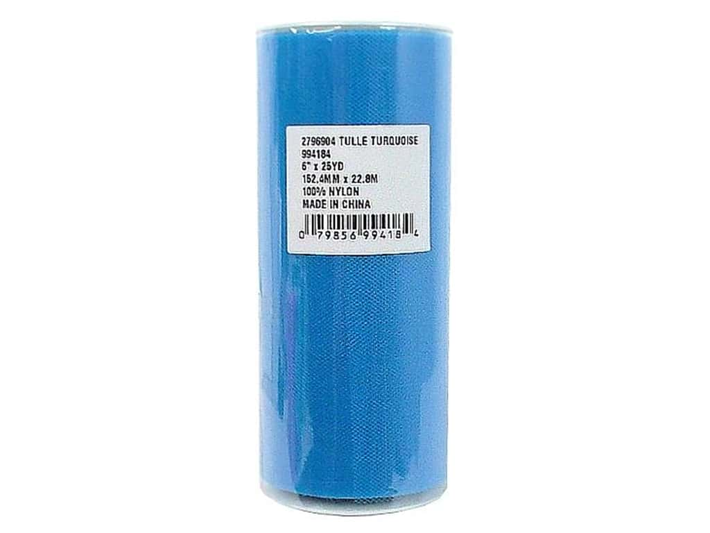 Offray Tulle 6 in. x  25 yd. Turquoise (25 yards)