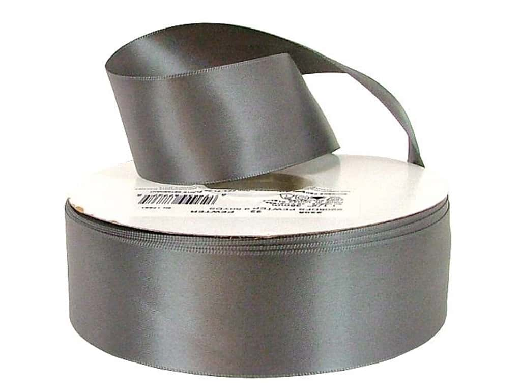 Offray Double Face Satin Ribbon 1 1/2 in. x 50 yd. Pewter (50 yards)