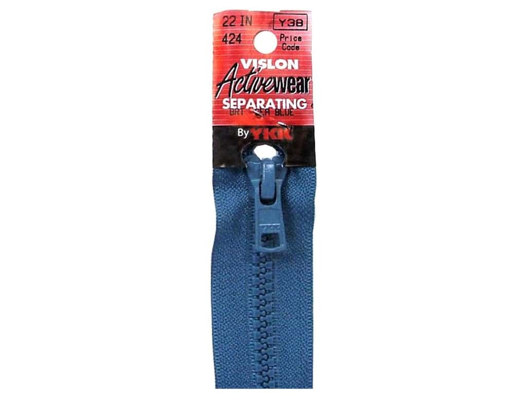 YKK Vislon Separating Zipper 22 in. Bright Sea Blue