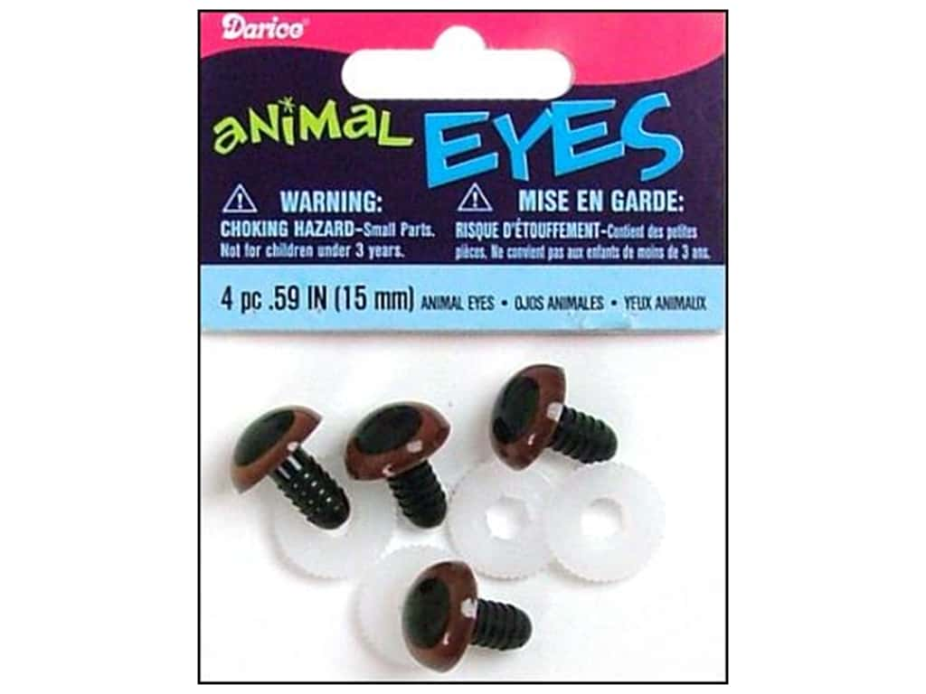 Darice Animal Eyes with Plastic Washers 15 mm Brown 4 pc.