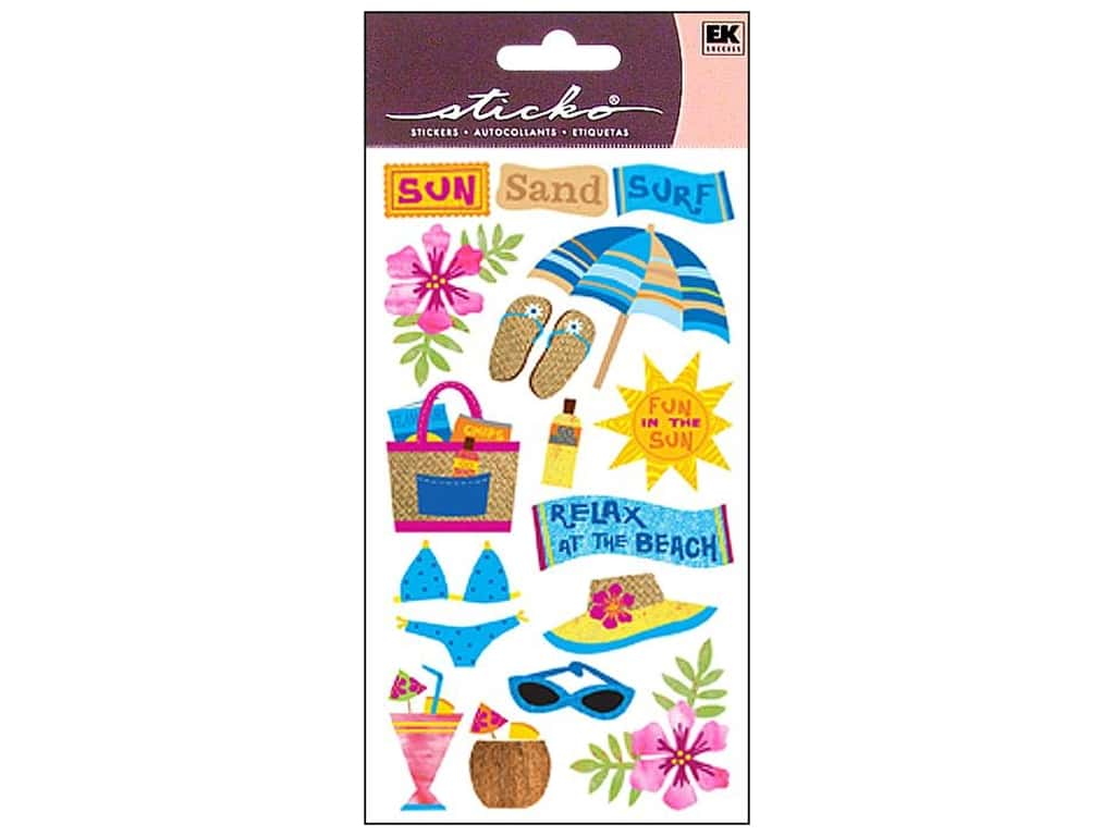 Sticko Vellum Stickers - Sun Surf Sand