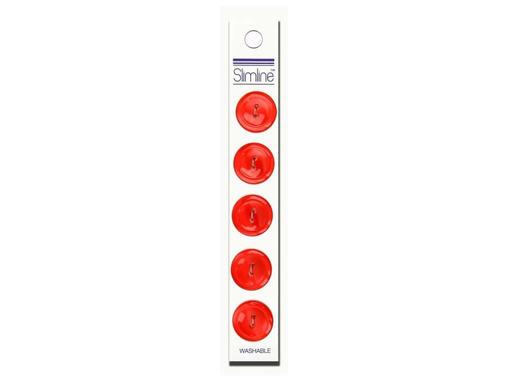Slimline 2 Hole Buttons 3/4 in. Red 5 pc.
