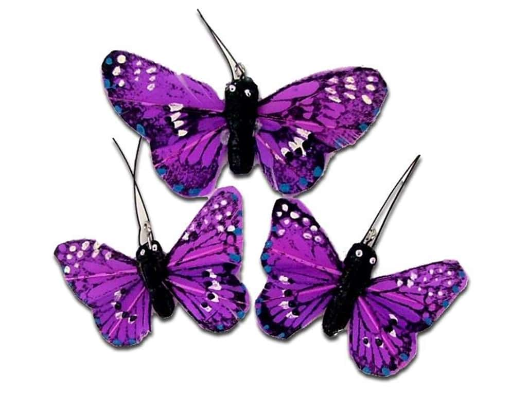 Midwest Design Butterfly Feather Small/Large Purple 3 pc