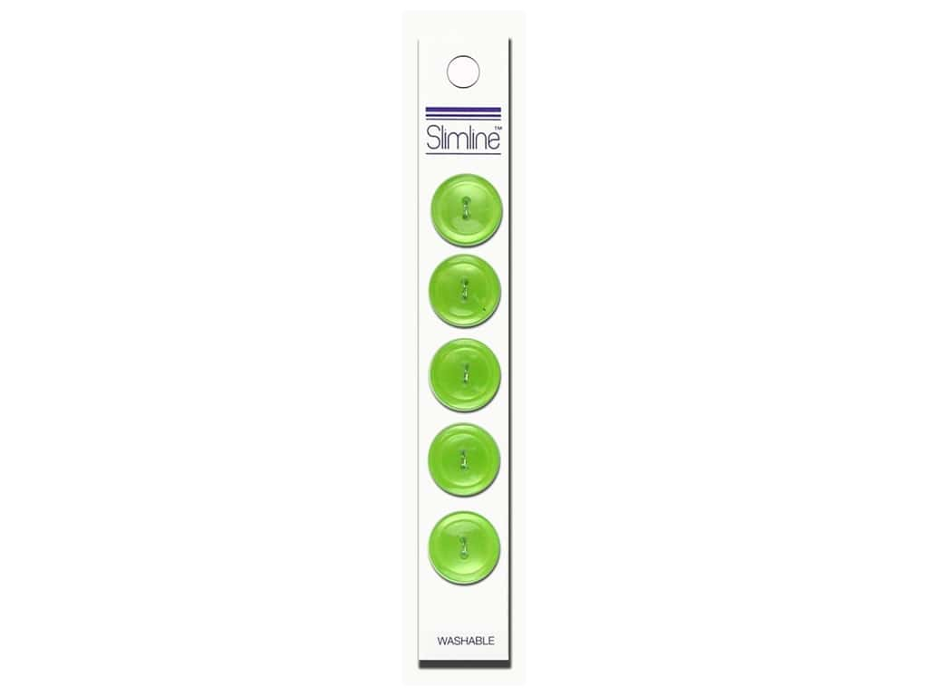 Slimline 2 Hole Buttons 3/4 in. Lime 5 pc.