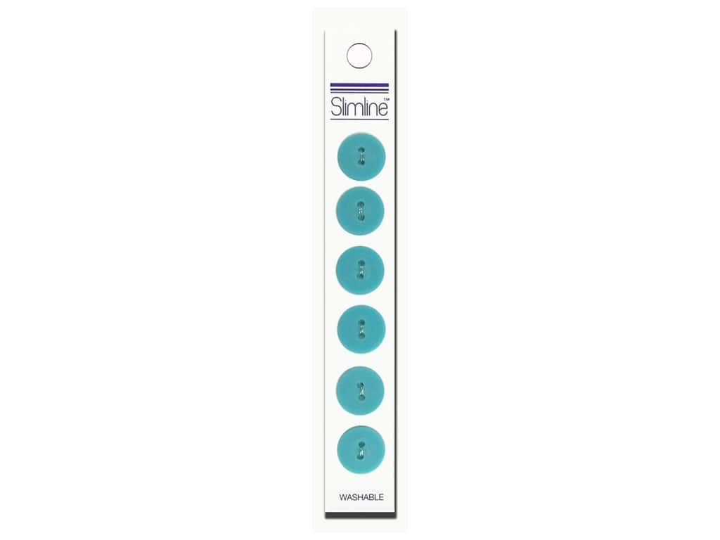 Slimline 2 Hole Buttons 5/8 in.Turquoise 6 pc.