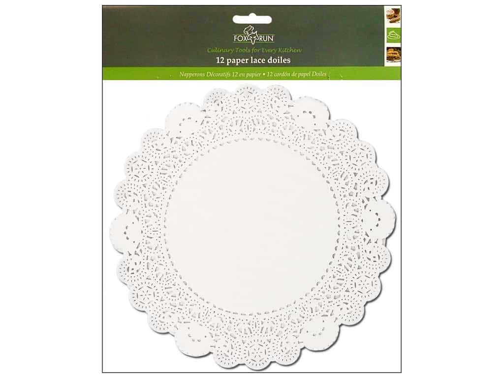 "Fox Run Paper Doily 10"" Round 12pc White"