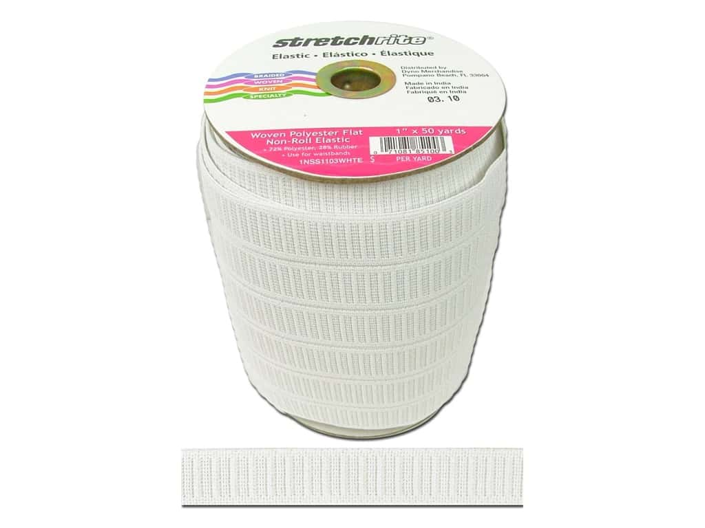 Stretchrite Non-Roll Flat Elastic 1 in. x 50 yd. White (50 yards)