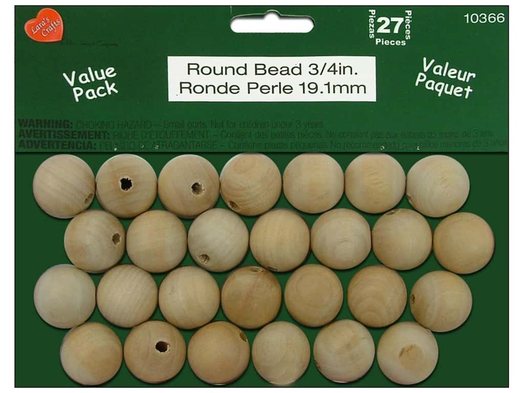 Lara's Wood Round Bead Value Pack 3/4 in. 27 pc.