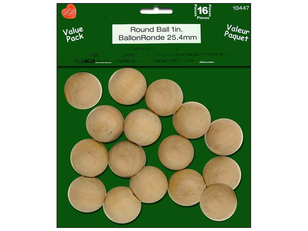 Lara's Wood Value Pack Round Ball 1 in. 16 pc.