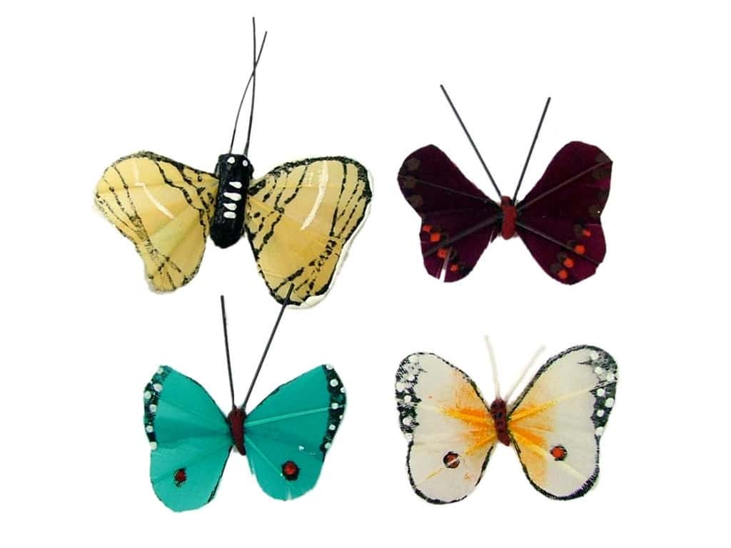 """Midwest Design Butterfly 1.25"""" Feather Assorted"""