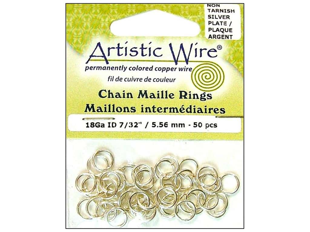 Artistic Wire Chain Maille Jump Rings 18 ga. 7/32 in. Silver 50 pc.