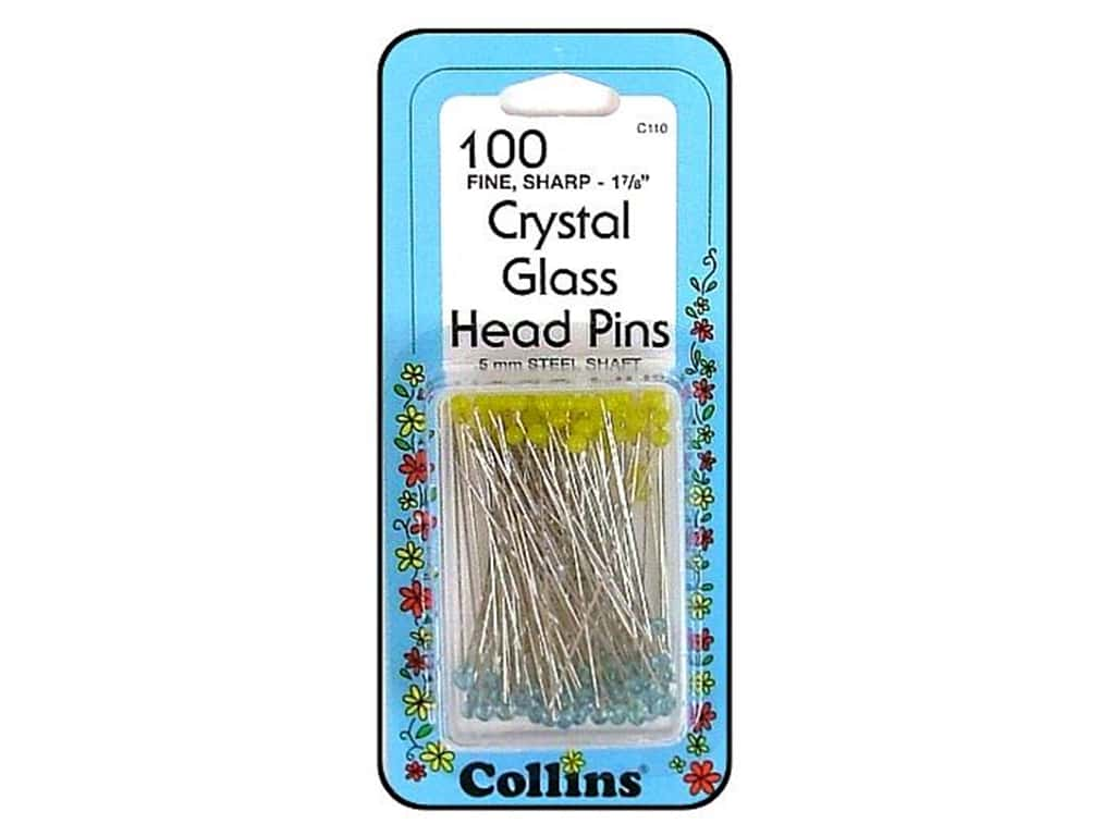 Crystal Glasshead Pins by Collins 100 pc.