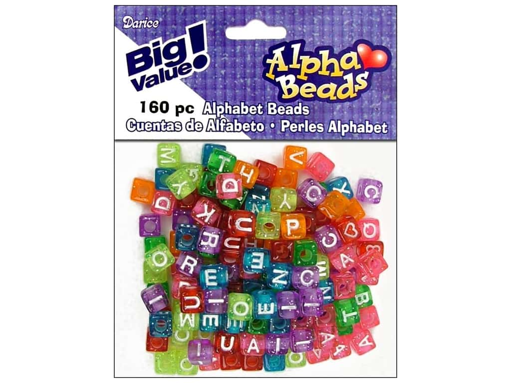 Darice Alphabet Beads 8 mm Cube Transparent Glitter with White Letters 160 pc.