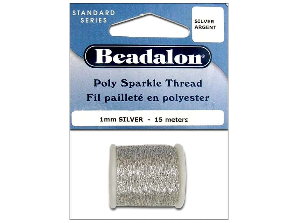 Beadalon Poly Sparkle Thread .039 in. Silver 49.2 ft.