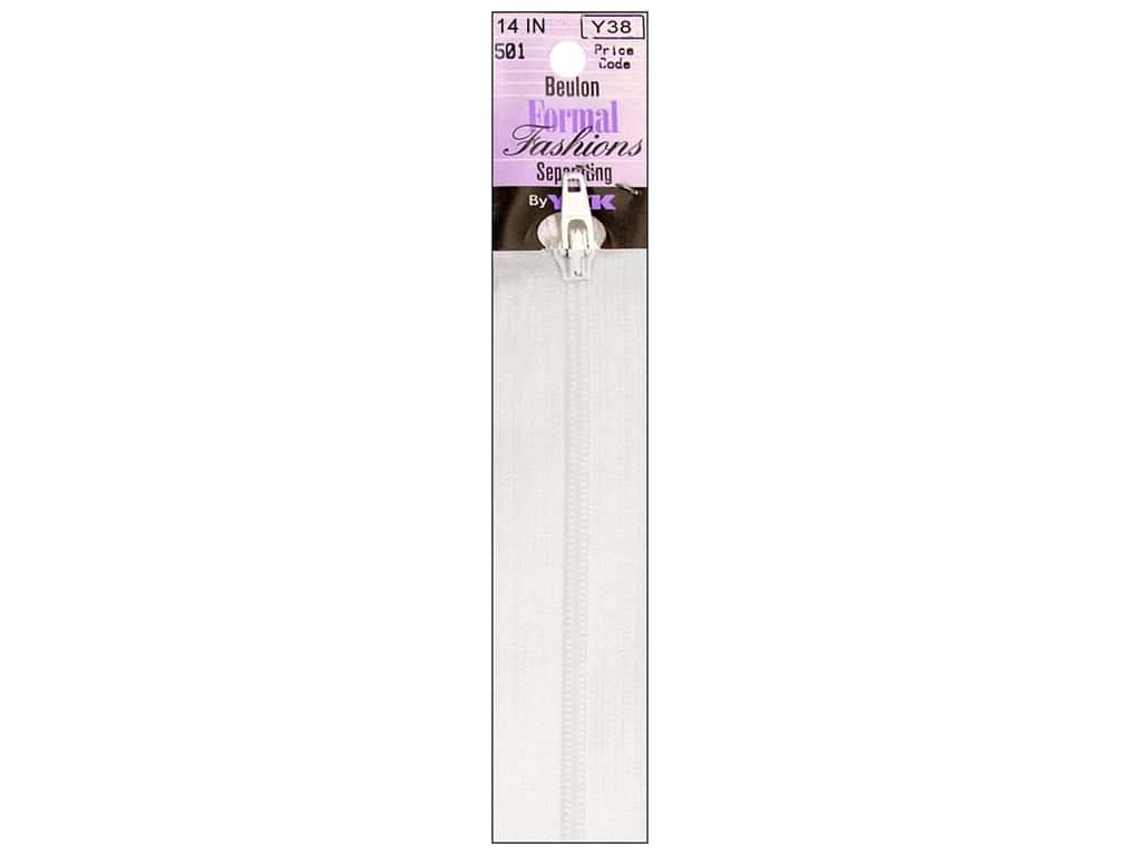 YKK Beulon Formal Fashions Separating Zipper 14 in. White