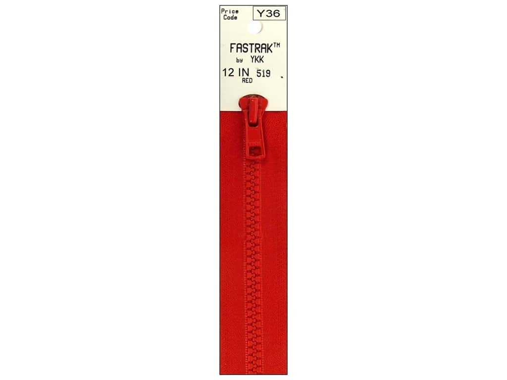 YKK Fastrak 1-Way Separating Zipper 12 in. Red