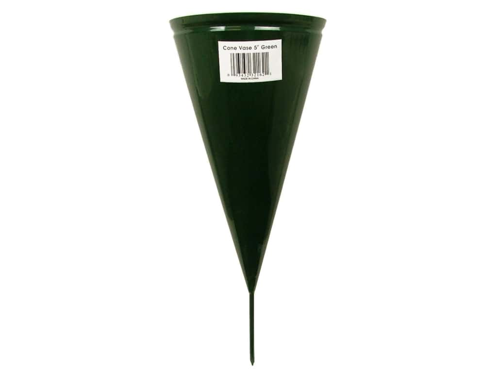Panaceas Metal Cone Vase 5 in. Green