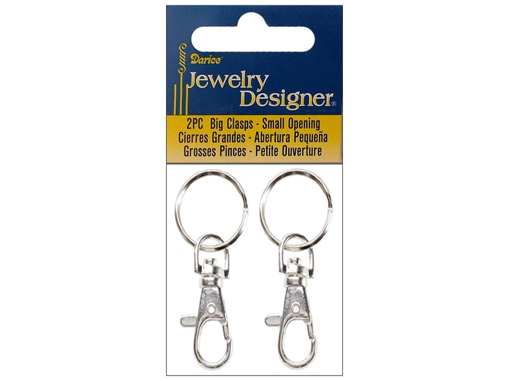 Darice Jewelry Designer Big Clasp with Hinge 2 pc. Silver Plated Large
