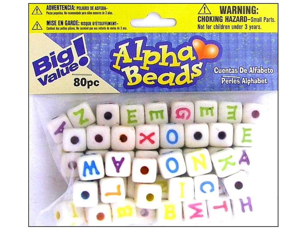 Darice Alphabet Beads 12 mm Cube White with Assorted Letters 80 pc.