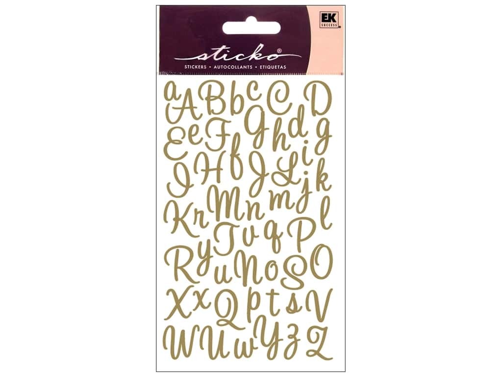 Sticko Alphabet Stickers - Script Sweetheart Small Glitter Gold
