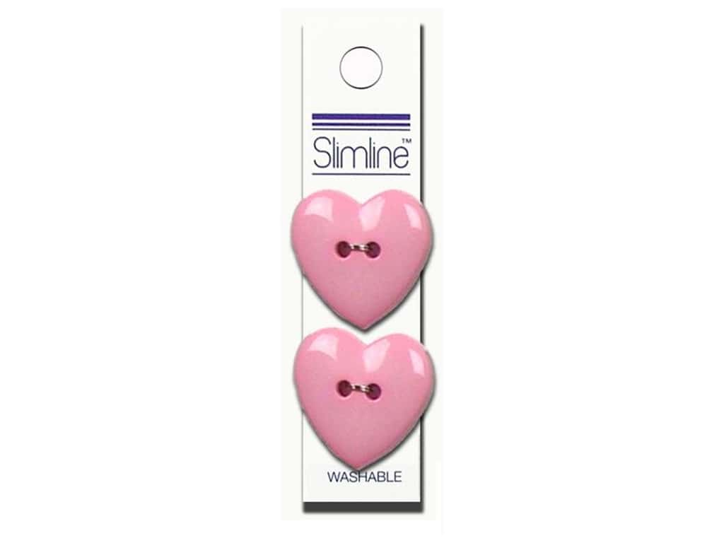 Slimline 2 Hole Buttons 1 in. Heart Pink 2 pc.