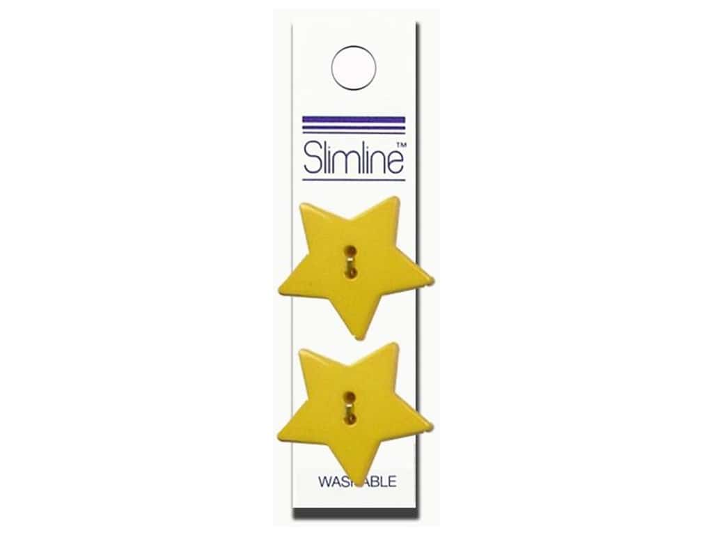 Slimline 2 Hole Buttons 1 1/8 in. Star Yellow 2 pc.