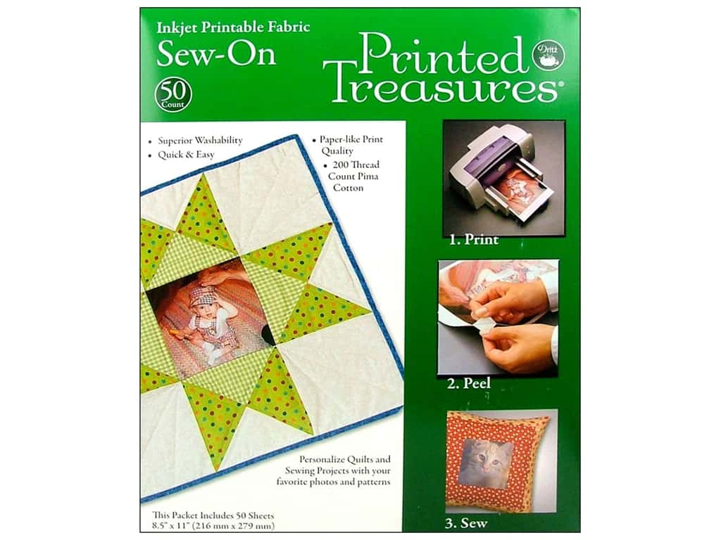 Inkjet Fabric Sheets by Printed Treasures Sew On 50 pc.