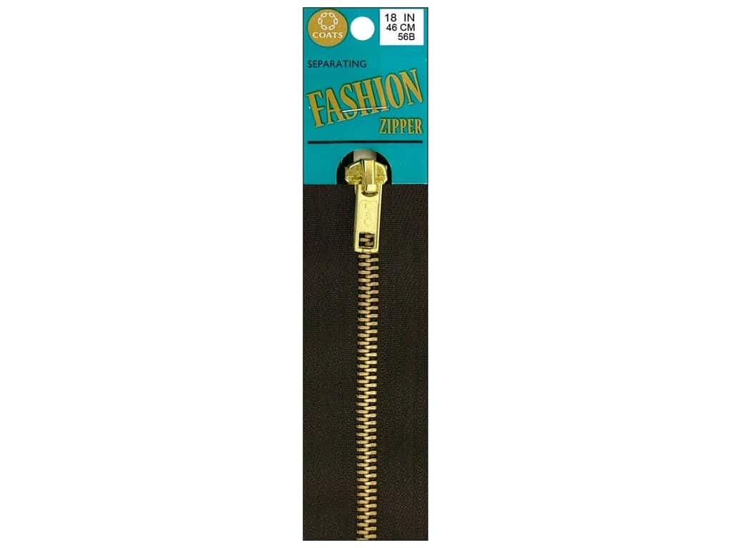 Coats Fashion Brass Separating Zipper 18 in. Cloister Brown