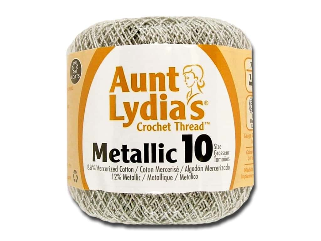 Aunt Lydia's Metallic Classic Cotton Crochet Thread Size 10 100 yd. Silver/Silver