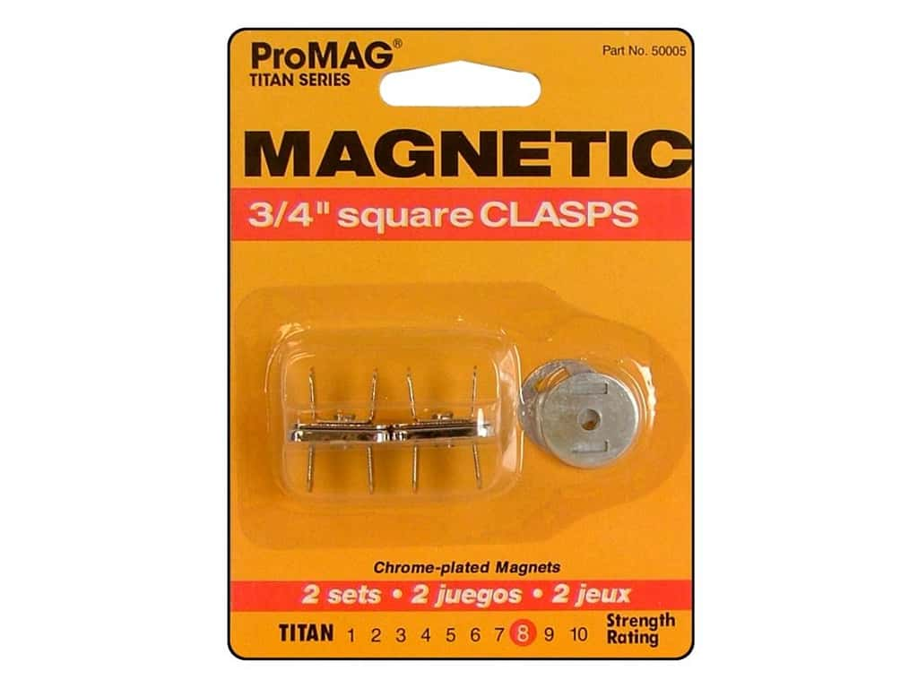 ProMag Magnetic Clasps 3/4 in. Square Silver 2 pc.