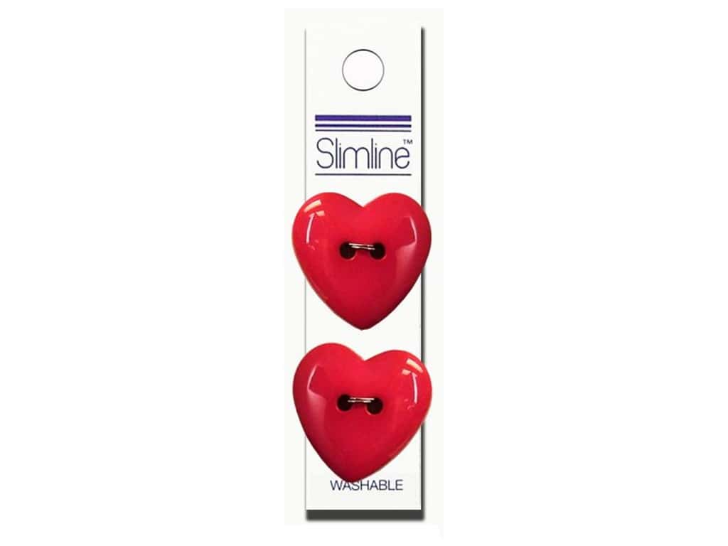 Slimline 2 Hole Buttons 1 in. Heart Fuchsia 2 pc.