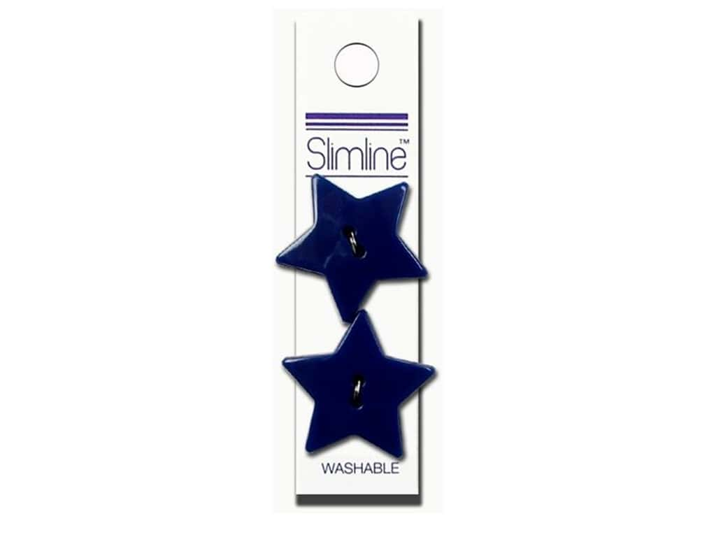 Slimline 2 Hole Buttons 1 1/8 in. Star Royal Blue 2 pc.