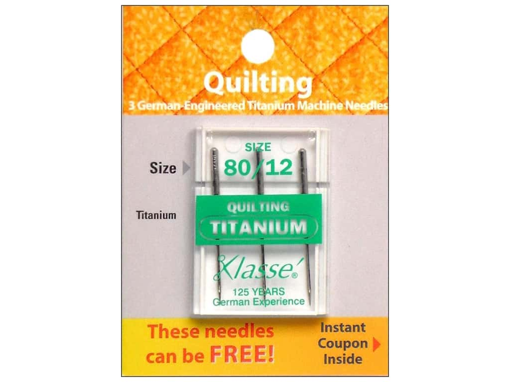 Klasse Titanium Quilting Machine Needle Size 80/12 3 pc.