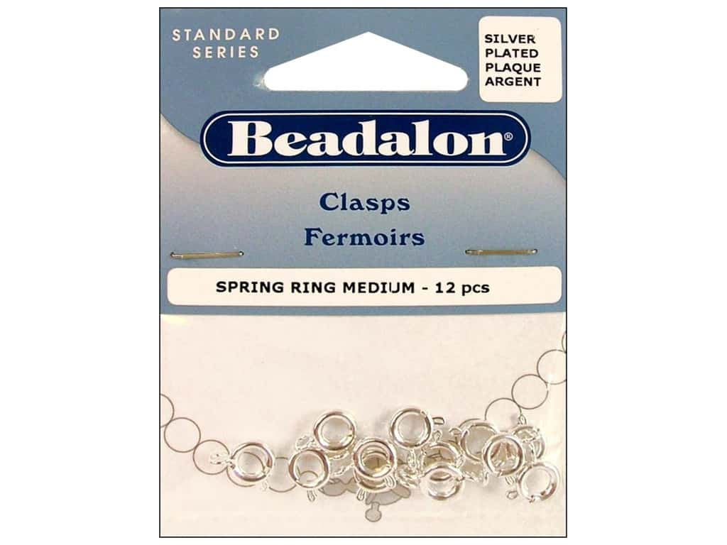 Beadalon Spring Ring Clasps 7 mm Silver 12 pc.