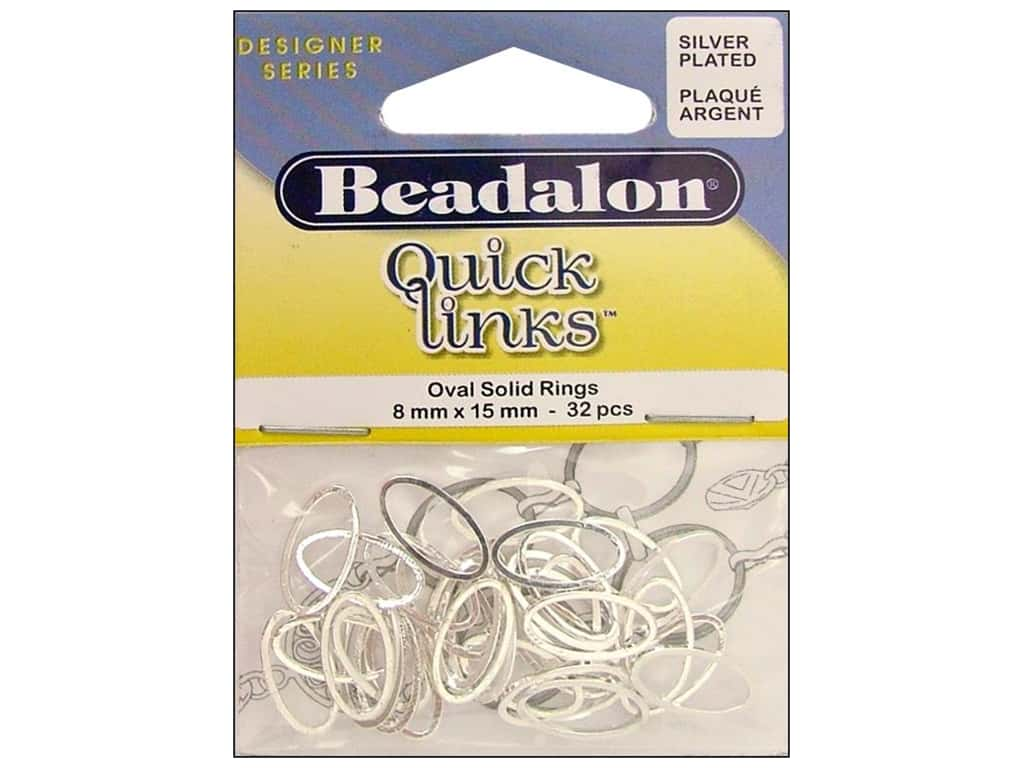 Beadalon Quick Links Oval 8 x 15 mm Silver Plated 32 pc.